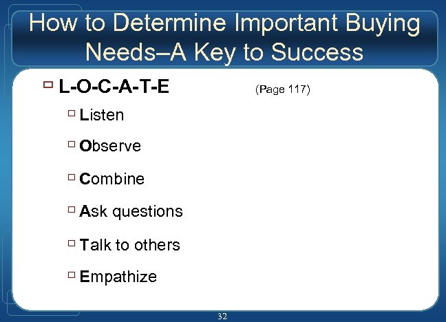How to Determine Important Buying Needs–A Key to Success ù L-O-C-A-T-E (Page 117) ù