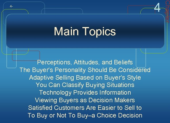 Main Topics Perceptions, Attitudes, and Beliefs The Buyer's Personality Should Be Considered Adaptive Selling