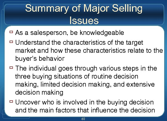 Summary of Major Selling Issues ù As a salesperson, be knowledgeable ù Understand the