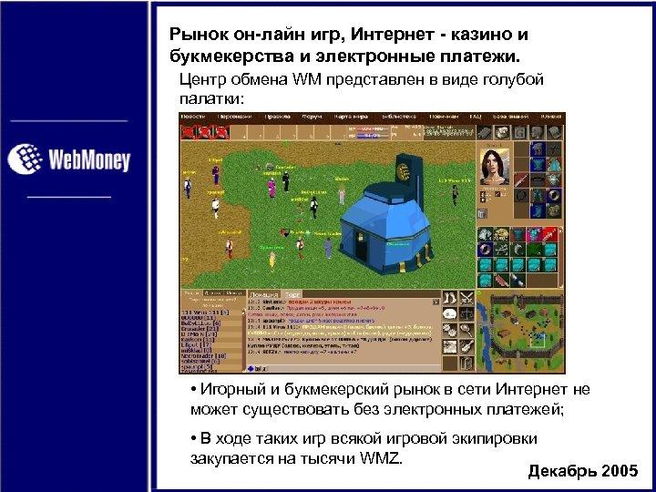 Рынок он-лайн игр, Интернет - казино и букмекерства и электронные платежи. Центр обмена WM