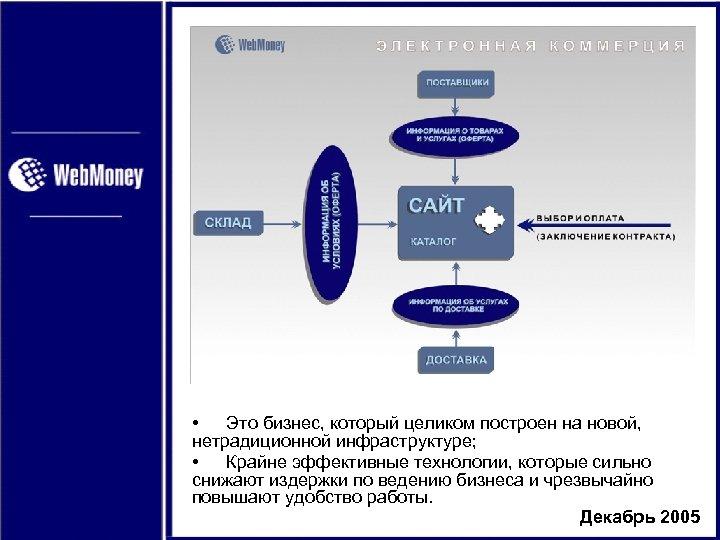 • Это бизнес, который целиком построен на новой, нетрадиционной инфраструктуре; • Крайне эффективные
