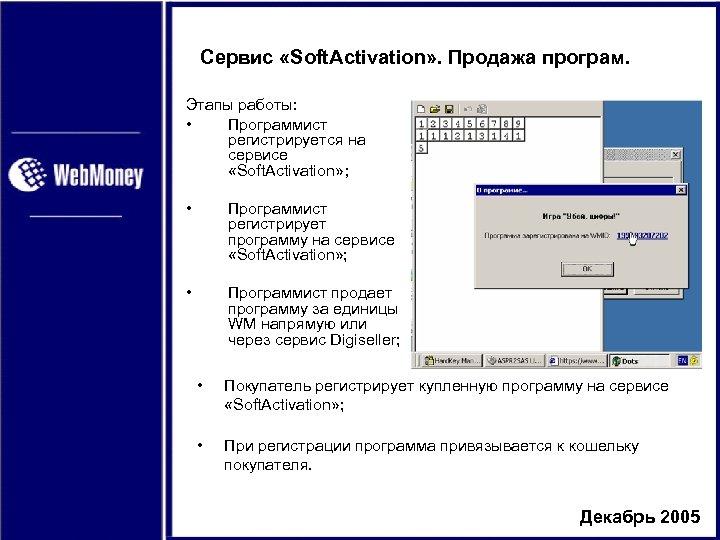 Сервис «Soft. Activation» . Продажа програм. Этапы работы: • Программист регистрируется на сервисе «Soft.