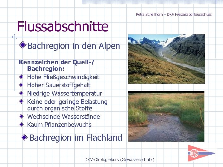 Petra Schellhorn – DKV Freizeitsportausschuss Flussabschnitte Bachregion in den Alpen Kennzeichen der Quell-/ Bachregion: