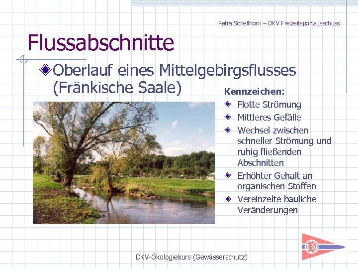 Petra Schellhorn – DKV Freizeitsportausschuss Flussabschnitte Oberlauf eines Mittelgebirgsflusses (Fränkische Saale) Kennzeichen: Flotte Strömung