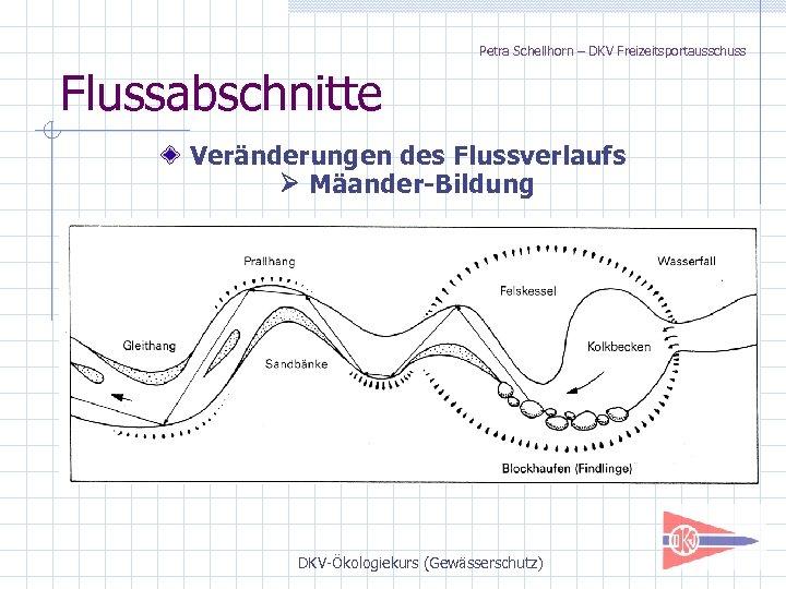 Petra Schellhorn – DKV Freizeitsportausschuss Flussabschnitte Veränderungen des Flussverlaufs Mäander-Bildung DKV-Ökologiekurs (Gewässerschutz)