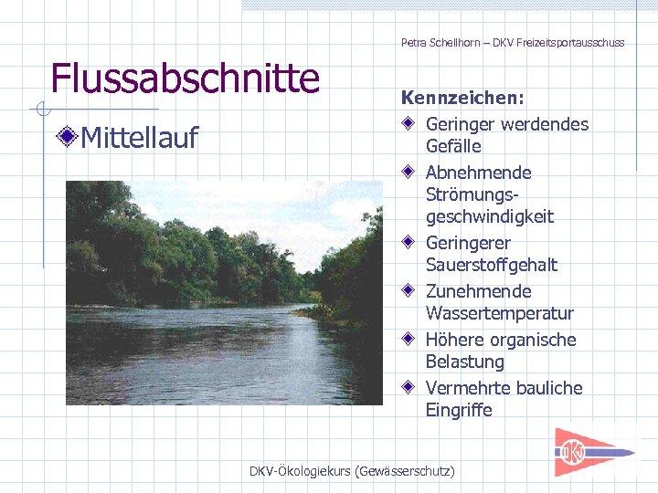 Petra Schellhorn – DKV Freizeitsportausschuss Flussabschnitte Mittellauf Kennzeichen: Geringer werdendes Gefälle Abnehmende Strömungsgeschwindigkeit Geringerer