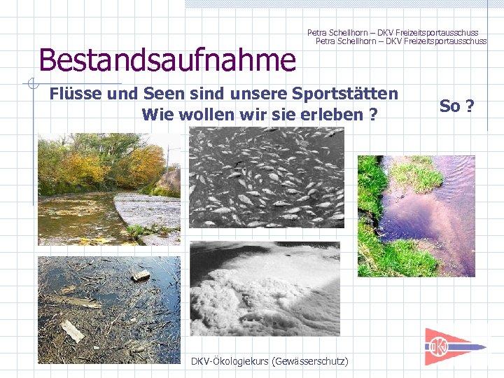 Bestandsaufnahme Petra Schellhorn – DKV Freizeitsportausschuss Flüsse und Seen sind unsere Sportstätten Wie wollen