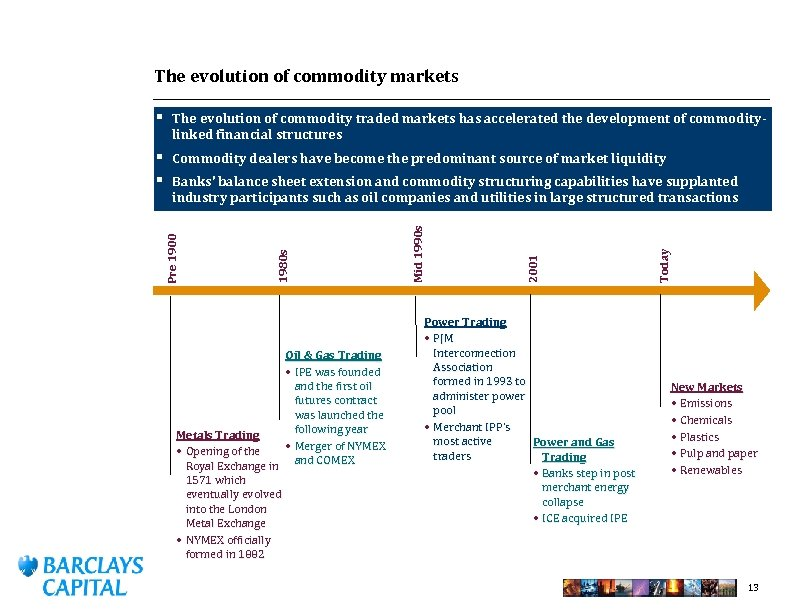 The evolution of commodity markets § The evolution of commodity traded markets has accelerated
