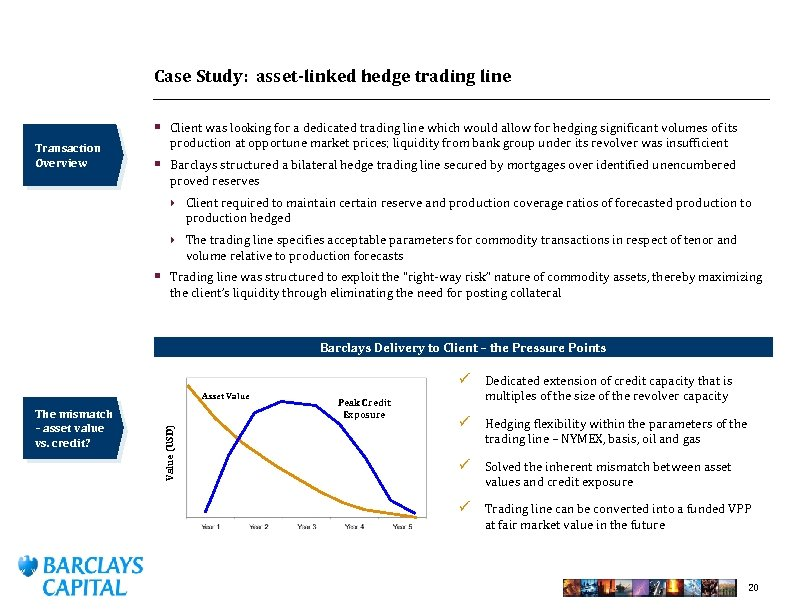 Case Study: asset-linked hedge trading line § Client was looking for a dedicated trading