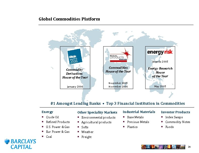 Global Commodities Platform Awards 2005 Commodity Derivatives House of the Year January 2006 Commodities