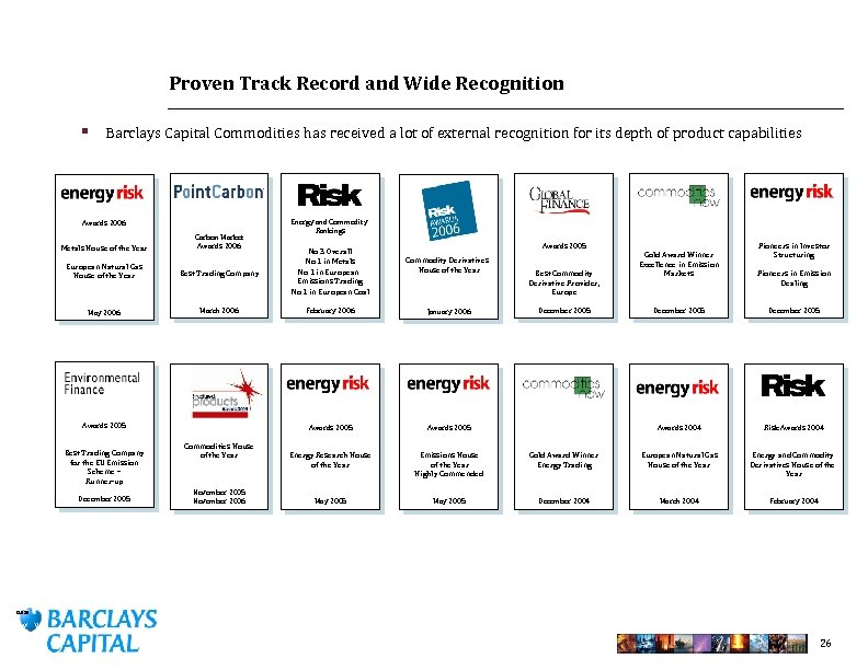 Proven Track Record and Wide Recognition § Barclays Capital Commodities has received a lot