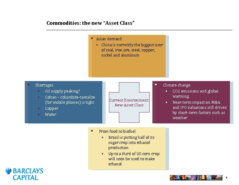 "Commodities: the new ""Asset Class"" § Asian demand } China is currently the biggest"