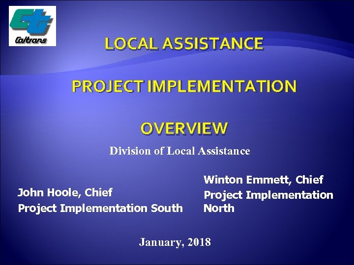 LOCAL ASSISTANCE PROJECT IMPLEMENTATION OVERVIEW Division of Local Assistance John Hoole, Chief Project Implementation
