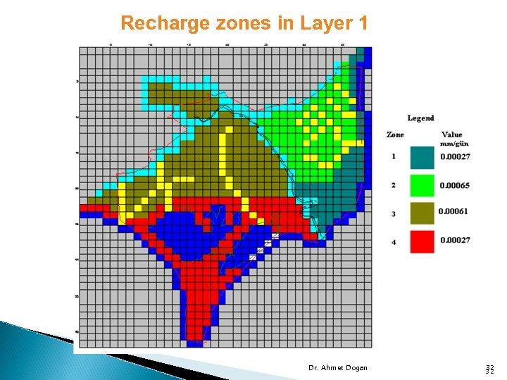 Recharge zones in Layer 1 Dr. Ahmet Dogan 32 32