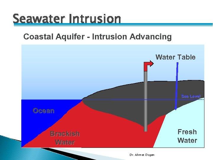 Seawater Intrusion Coastal Aquifer - Intrusion Advancing Water Table Sea Level Ocean Brackish Water