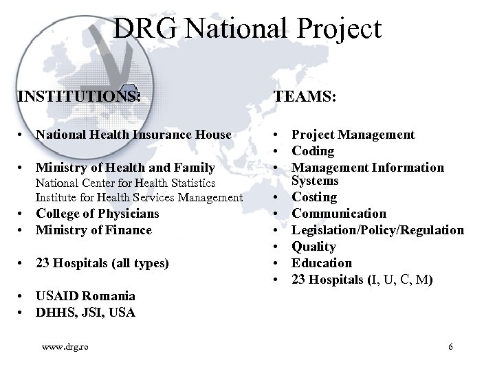 DRG National Project INSTITUTIONS: TEAMS: • National Health Insurance House • Project Management •
