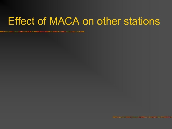 Effect of MACA on other stations