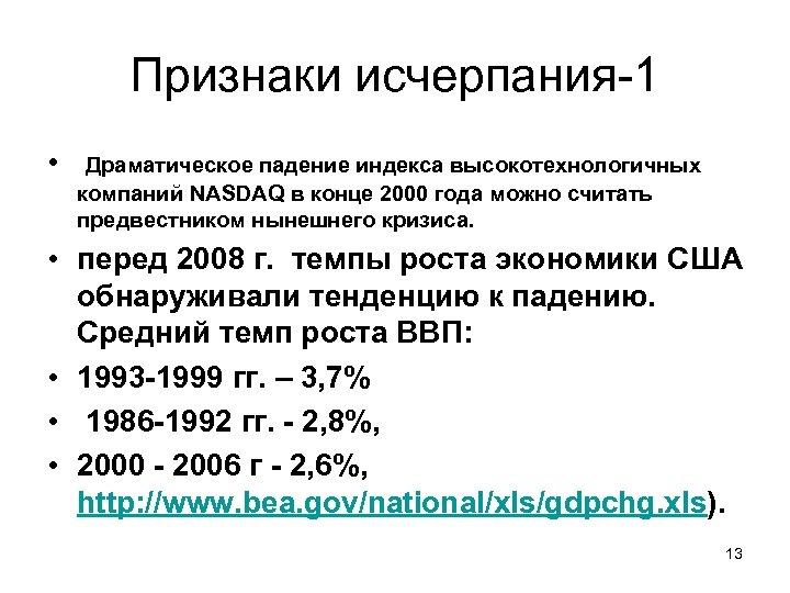 Признаки исчерпания-1 • Драматическое падение индекса высокотехнологичных компаний NASDAQ в конце 2000 года можно