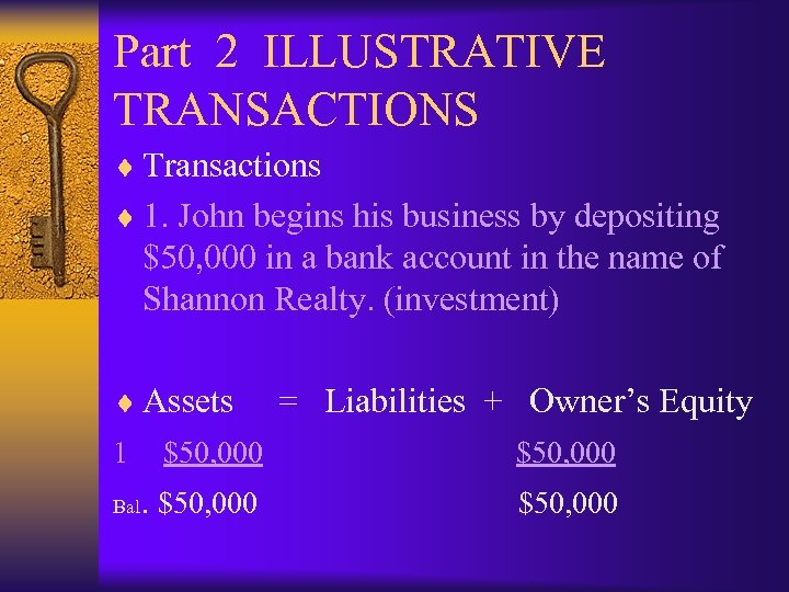 Part 2 ILLUSTRATIVE TRANSACTIONS ¨ Transactions ¨ 1. John begins his business by depositing