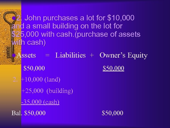 l 2. John purchases a lot for $10, 000 and a small building on