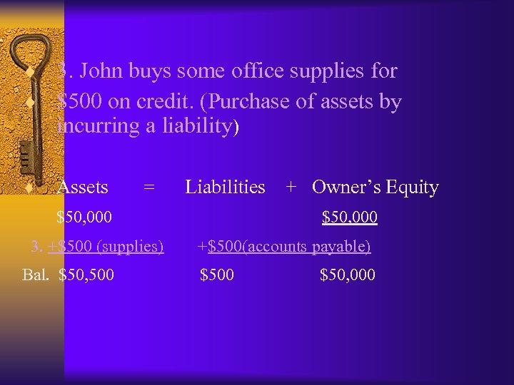¨ 3. John buys some office supplies for ¨ $500 on credit. (Purchase of