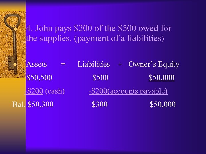 ¨ 4. John pays $200 of the $500 owed for the supplies. (payment of