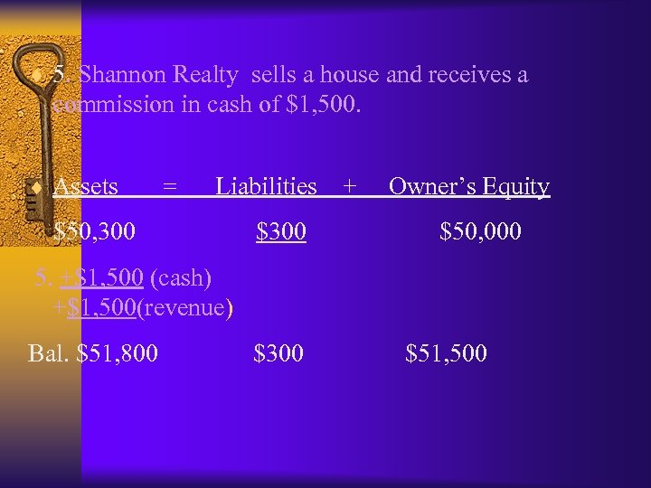 ¨ 5. Shannon Realty sells a house and receives a commission in cash of