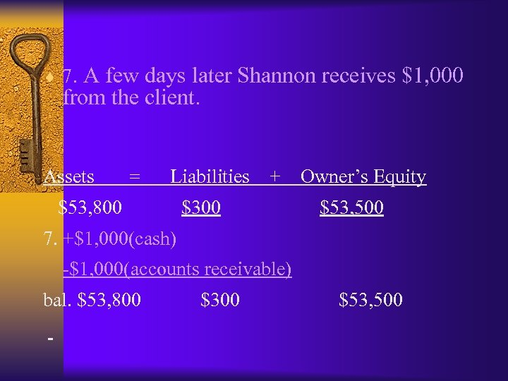¨ 7. A few days later Shannon receives $1, 000 from the client. Assets