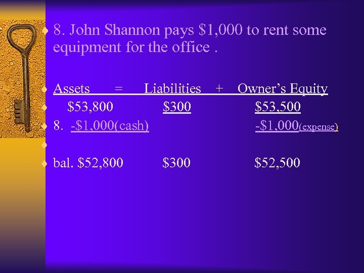 ¨ 8. John Shannon pays $1, 000 to rent some equipment for the office.