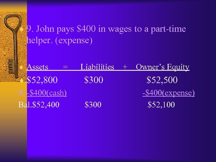 ¨ 9. John pays $400 in wages to a part-time helper. (expense) ¨ Assets