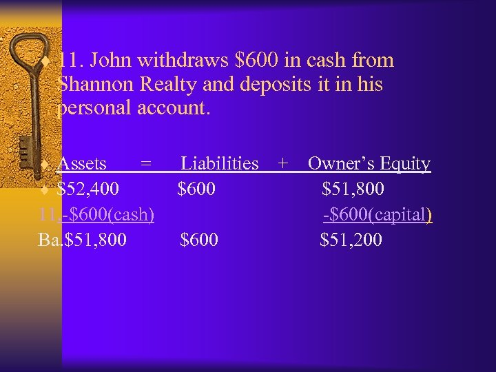 ¨ 11. John withdraws $600 in cash from Shannon Realty and deposits it in