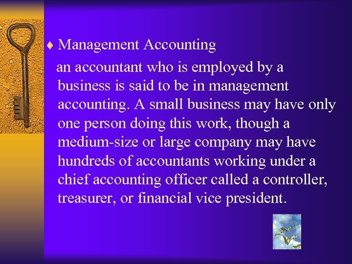 ¨ Management Accounting an accountant who is employed by a business is said to