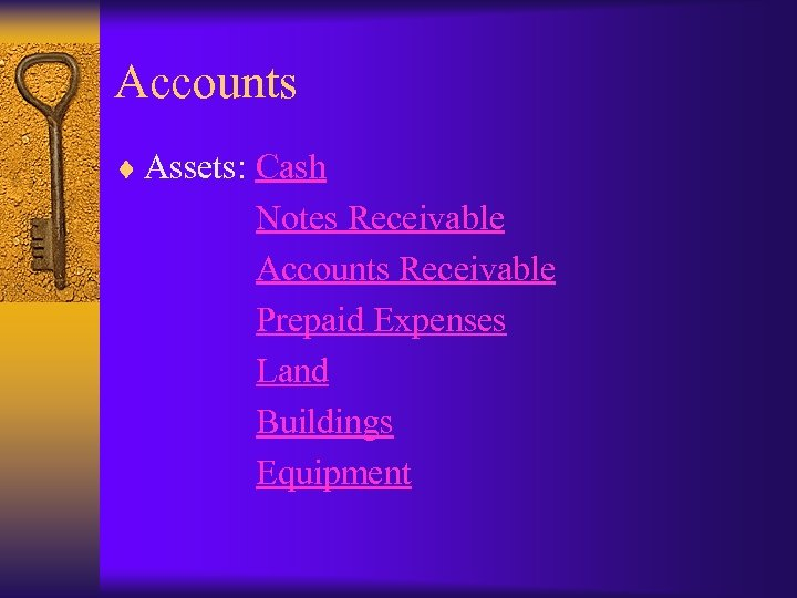 Accounts ¨ Assets: Cash Notes Receivable Accounts Receivable Prepaid Expenses Land Buildings Equipment