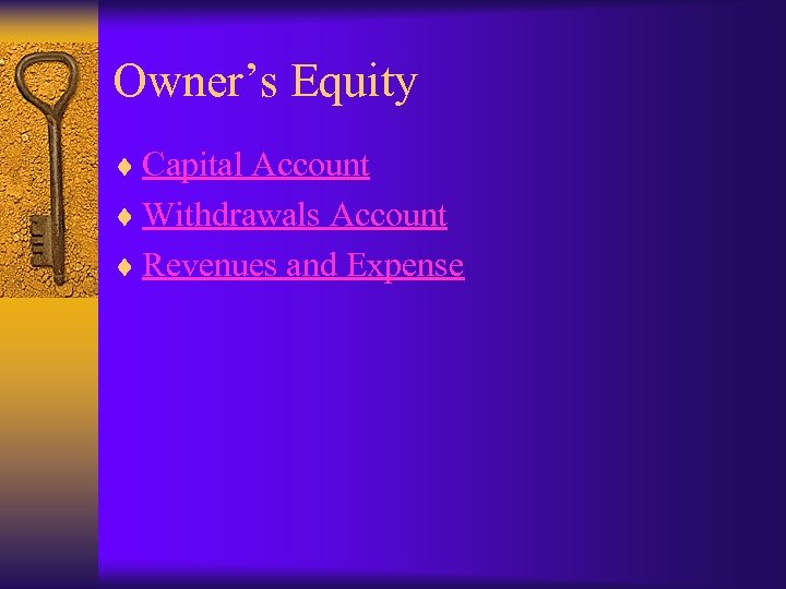 Owner's Equity ¨ Capital Account ¨ Withdrawals Account ¨ Revenues and Expense