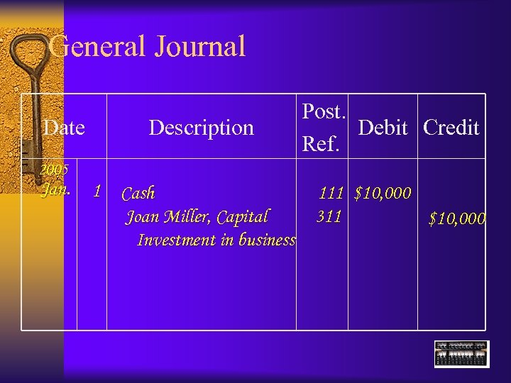 General Journal Date Description Post. Debit Credit Ref. 2005 Jan. 1 Cash 111 $10,