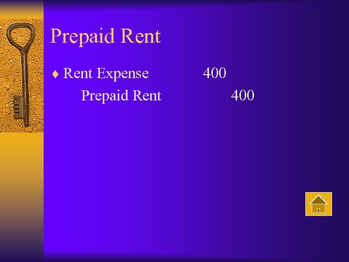 Prepaid Rent ¨ Rent Expense 400 Prepaid Rent 400