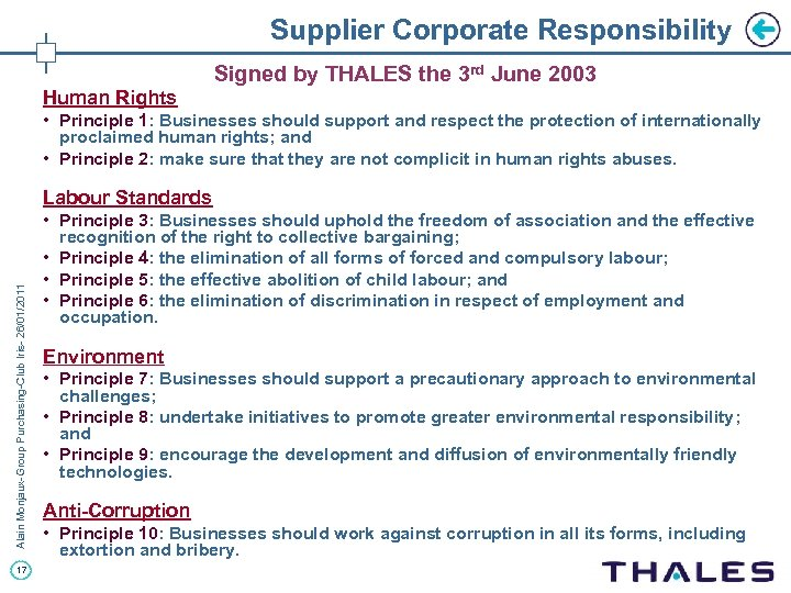 Supplier Corporate Responsibility Signed by THALES the 3 rd June 2003 Human Rights •