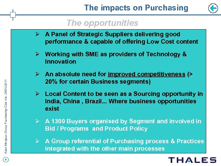 The impacts on Purchasing The opportunities Ø A Panel of Strategic Suppliers delivering good