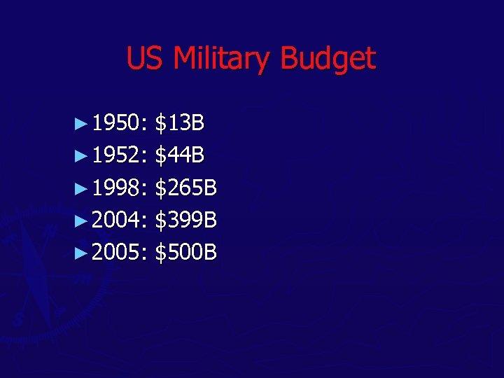 US Military Budget ► 1950: $13 B ► 1952: $44 B ► 1998: $265