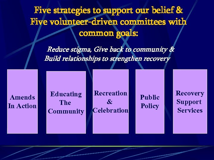 Five strategies to support our belief & Five volunteer-driven committees with common goals: Reduce