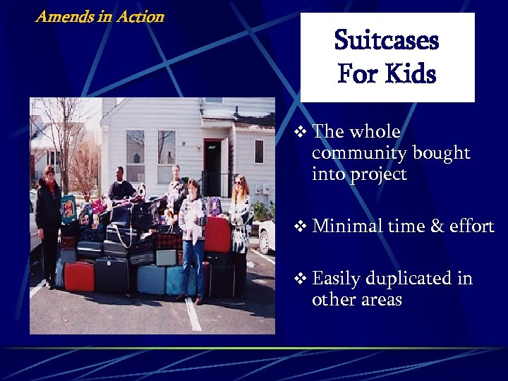 Amends in Action Suitcases For Kids v The whole community bought into project v