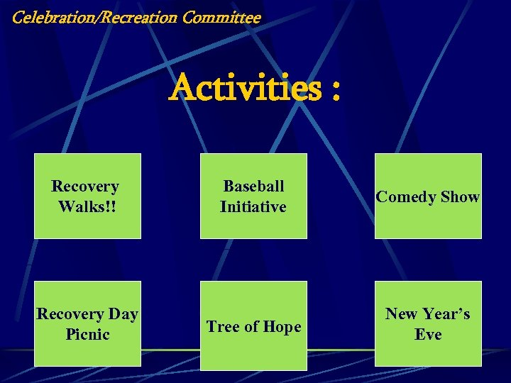 Celebration/Recreation Committee Activities : Recovery Walks!! Recovery Day Picnic Baseball Initiative Comedy Show Tree