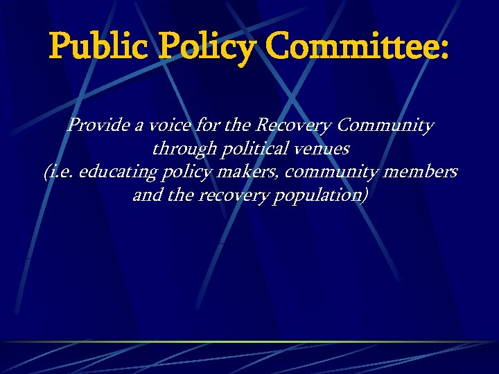 Public Policy Committee: Provide a voice for the Recovery Community through political venues (i.