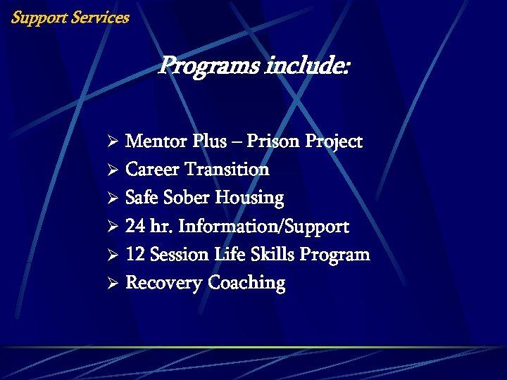 Support Services Programs include: Ø Mentor Plus – Prison Project Ø Career Transition Ø