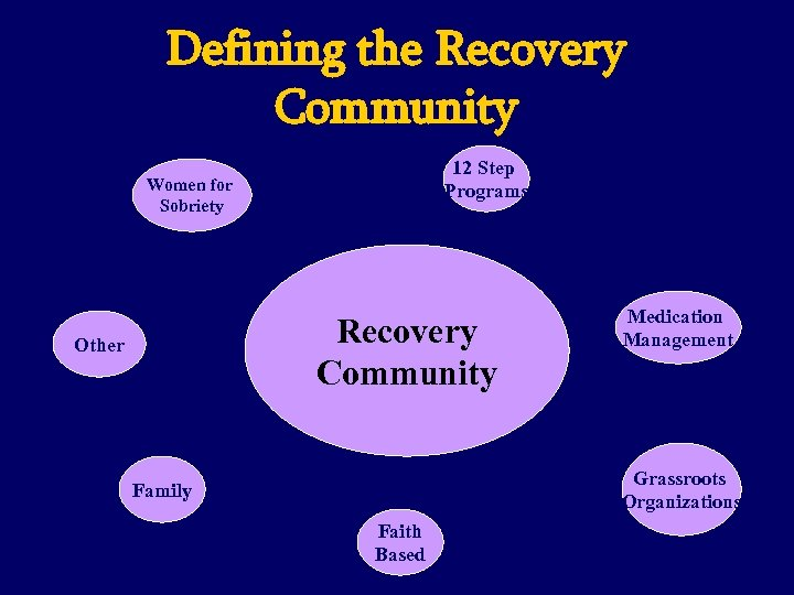 Defining the Recovery Community 12 Step Programs Women for Sobriety Recovery Community Other Medication