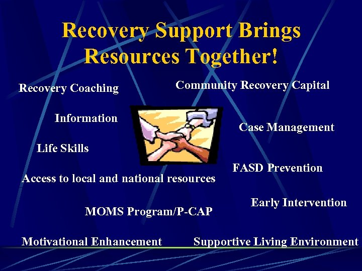 Recovery Support Brings Resources Together! Recovery Coaching Community Recovery Capital Information Case Management Life