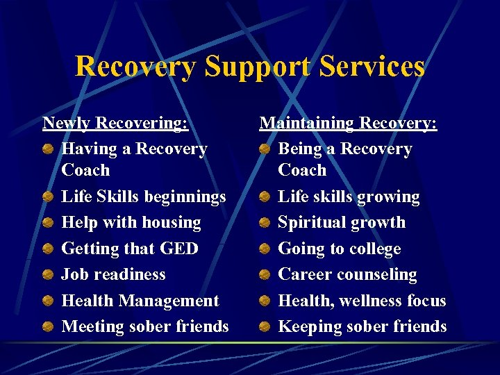 Recovery Support Services Newly Recovering: Having a Recovery Coach Life Skills beginnings Help with
