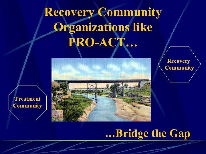 Recovery Community Organizations like PRO-ACT… Recovery Community Treatment Community …Bridge the Gap