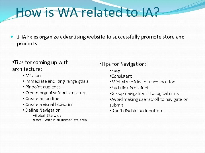 How is WA related to IA? 1. IA helps organize advertising website to successfully