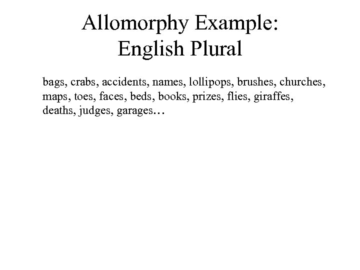 Allomorphy Example: English Plural bags, crabs, accidents, names, lollipops, brushes, churches, maps, toes, faces,